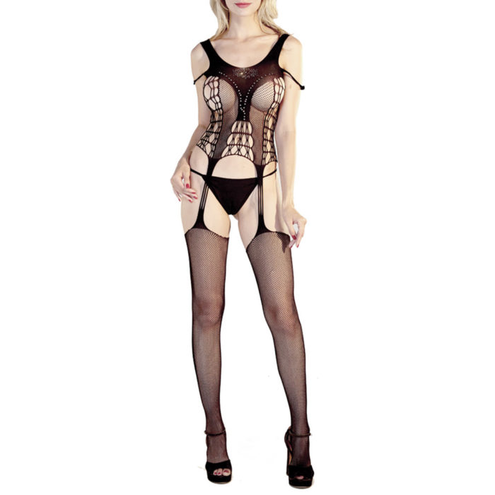 Sexy Lingerie See Through Crotchless Fishnet Off Shoulder Bodystockings