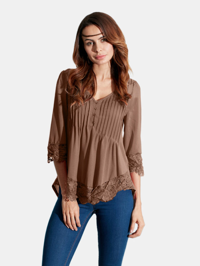 Sexy V Neck Lace Crochet 3/4 Sleeve Slim Blouse for Women