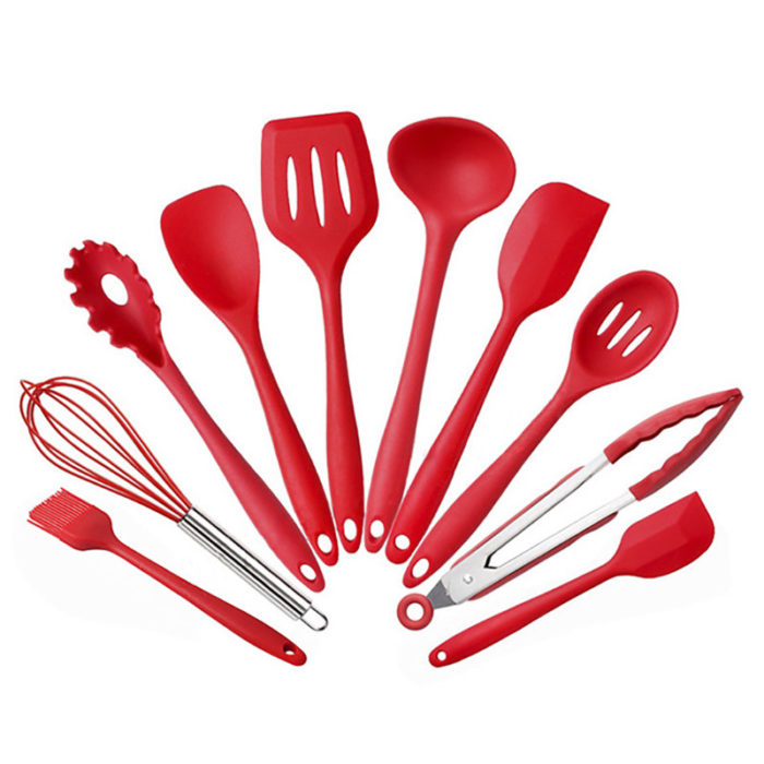 Silicone Kitchenware 10 Pieces Nonstick Cookware Set Kitchen Tools Baking Utensils