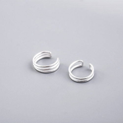 Simple 925 Sterling Silver Earrings Double Layer Three Layers Ear Clip Sweet Earrings Gift for Girls