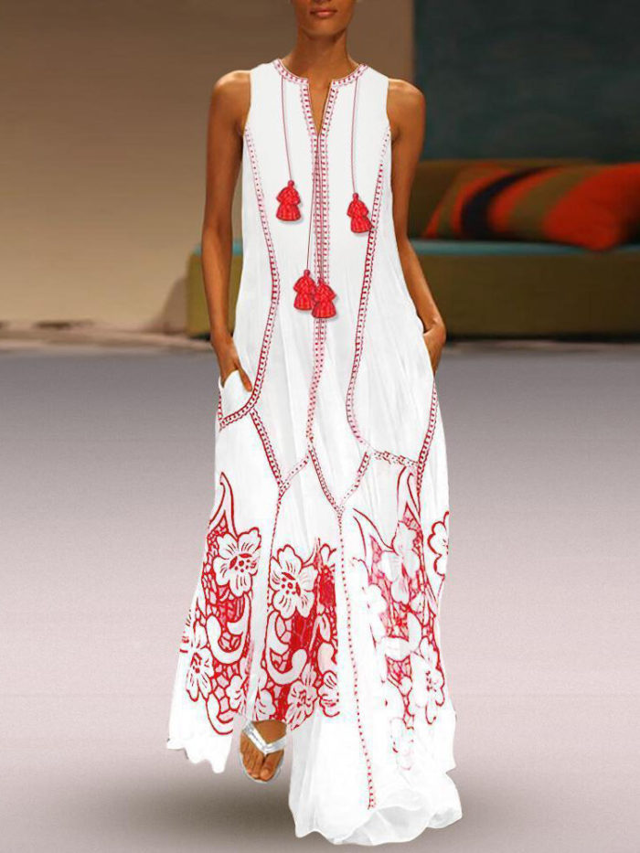 Sleeveless V-neck Embroidered Loose Chinese Maxi Dress