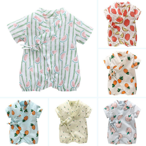 Soft Cotton Fruit Printed Unisex Baby Romper For 0-24 Months