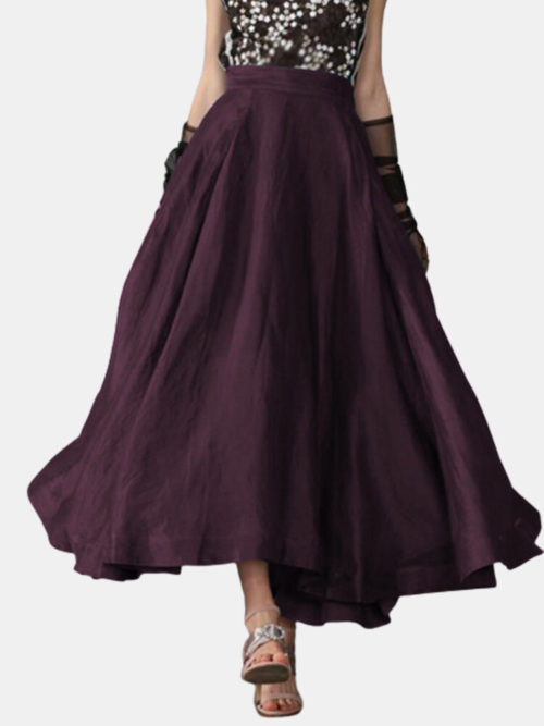 Solid Color Elastic Waist Plus Size Skirt with Pockets