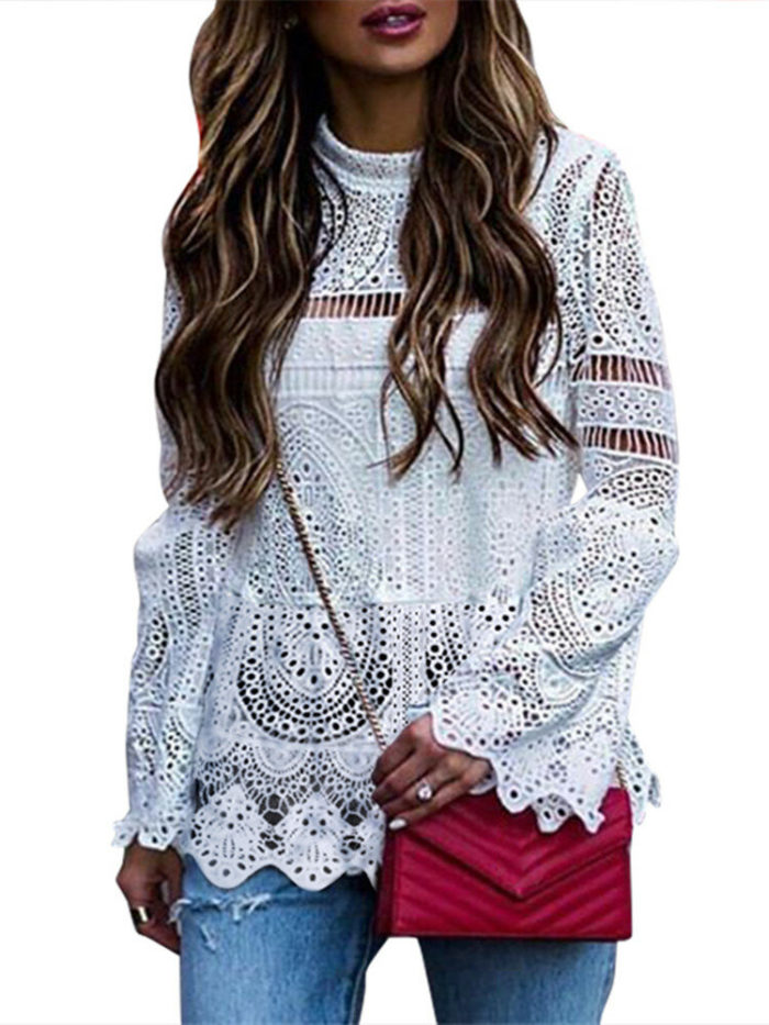 Solid Color Lace Hollow Long Sleeve Blouse For Women