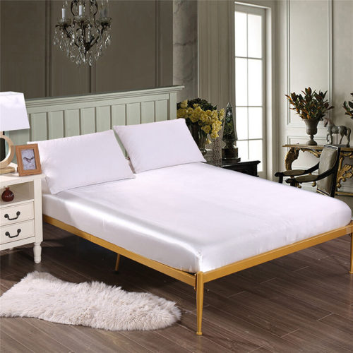 Solid Color Silk Like Super Soft Satin Bed Sheet Pillowcase Mattress Cover Bed Sheet Set Deep Pocket Fully Elastic Band