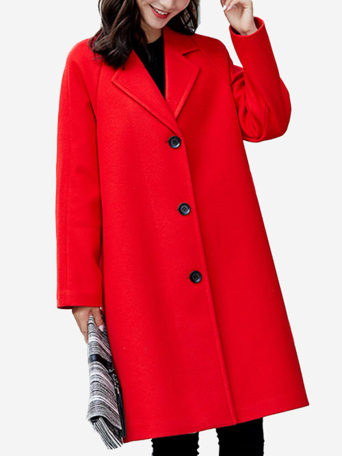 Solid Color Turn-Down Collar Wool Blend Coat