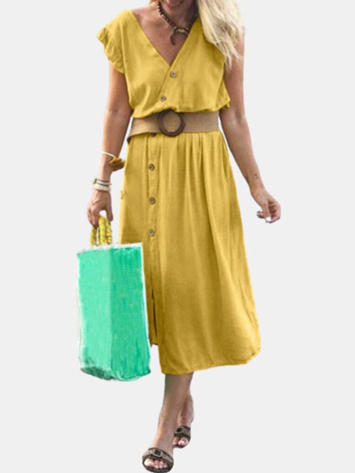 Solid Color V-neck Button Plus Size Dress