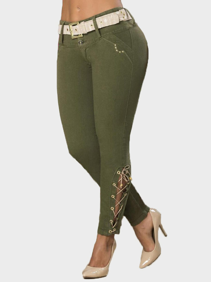 Solid Color Waist Belt Tapered Plus Size Pants