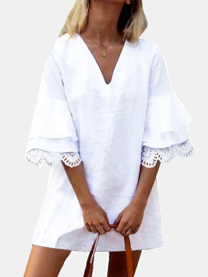 Solid Lace Ruffle Half Sleeve V-neck Casual Dress