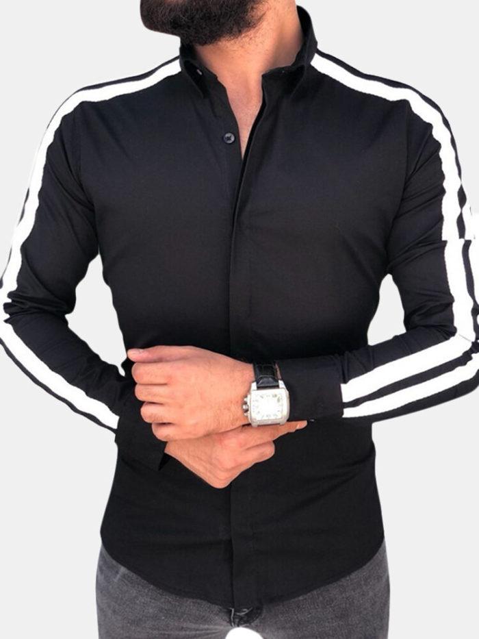 Spring Fall Turn Down Collar Long Sleeve Button Down Shirt for Men
