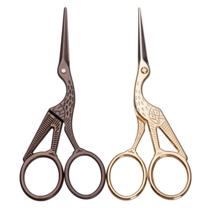Stork Embroidery Scissors Eyebrow Ear Hair Trimmer Gold Bronze