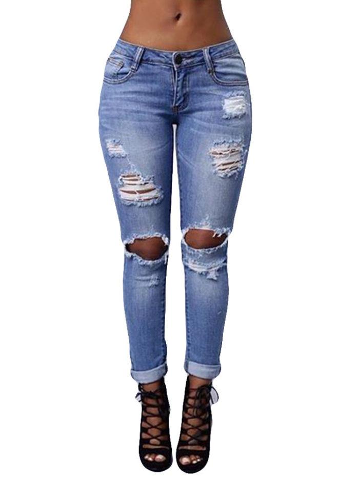 Stretch Ripped Skinny Denim Jeans