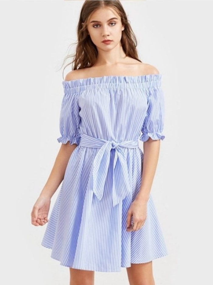 Stripe Off-shoulder Tie Half Sleeve Mini Dress For Women
