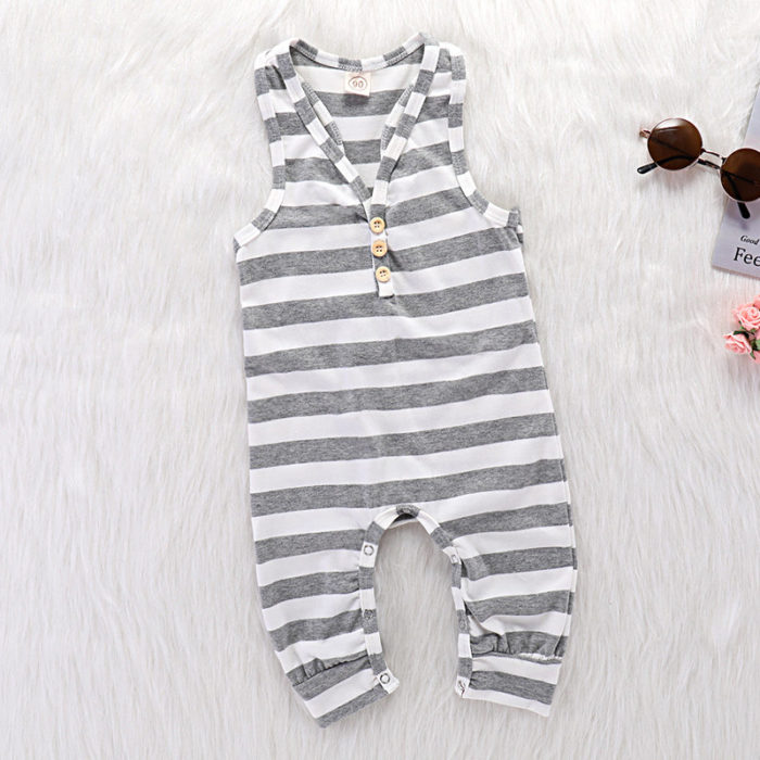 Stripe Unisex Baby Soft Cotton Comfy Sleeveless RomperFor 0-24M