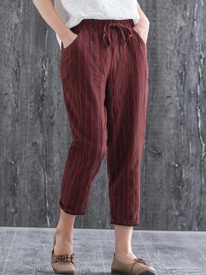 Striped Print Casual Elastic Waist Plus Size Pants