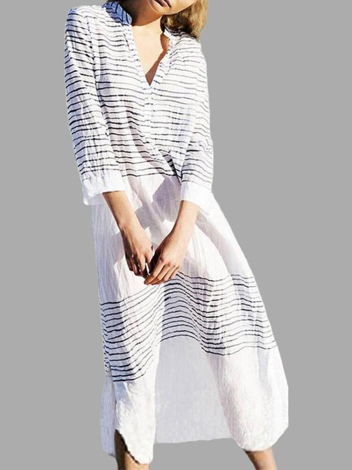 Striped Print V Neck 3/4 Sleeve Side Slit Dress