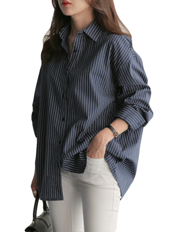 Striped Turn-down Collar Long Sleeve Casual Blouse