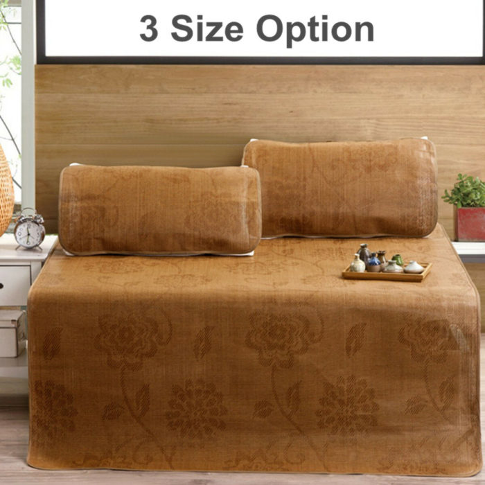 Summer 3PCS/Set Rattan Mat Mattresses Sleeping Cooling Bed Cover Pillowcases Natural Bamboo Bedding