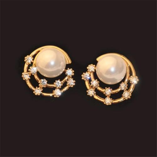 Sweet Ear Stud Earrings Starry Sky Rhinestone Moon Shaped Round Stud Earrings Cute Jewelry for Women