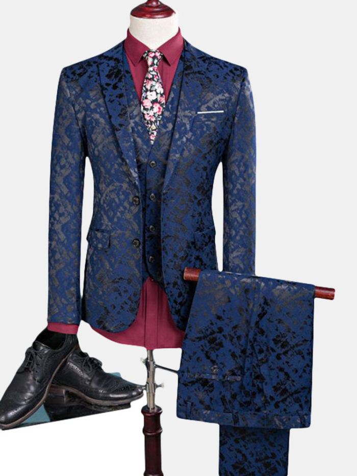 Three Pieces Printing Business Wedding One Button Suit for Men