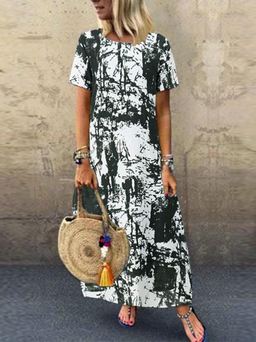 Tie Dye Print Short Sleeve Casual Plus Size Dress