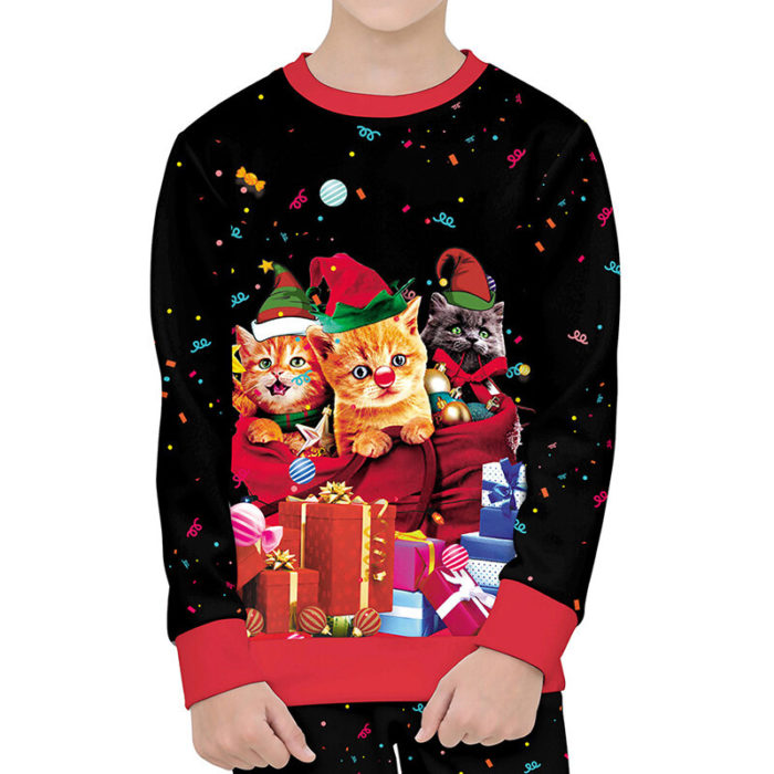 Toddler Girls and Boys Christmas Cartoon Cat 3D Print Long Sleeves Sweater For 4-13Y