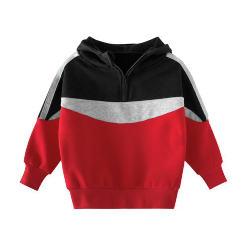 Toddler Girl's and Boys Plus Velvet Patchwork Pullover Long Sleeves Hoodies For 2-11Y