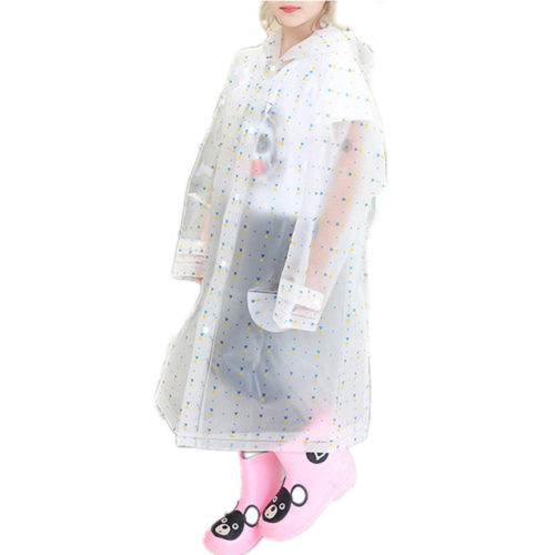 Toddler Girls and Boys Transparent Hooded EVA Raincoat For 8-15Y