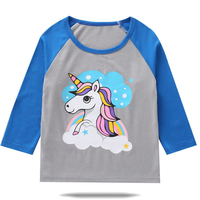 Toddler Girls and Boys Unicorn Print Long Sleeves Patchwork Casual Tops For 1-7Y