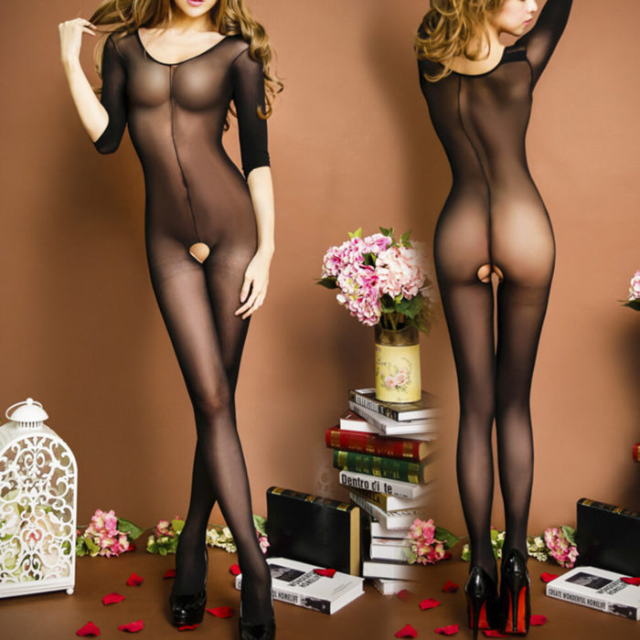 Transparent Open Crotch Mid Sleeves Bodystockings Sexy Lingerie