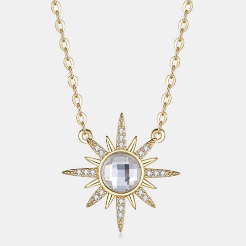 Trendy Geometric Metal Flower Rhinestone Pendant Necklace Sun Gem Pendant Necklace