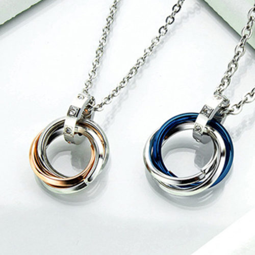 Trendy Geometric Stereoscopic Three-ring Pendant Necklace Titanium Steel Couple Chain Necklace