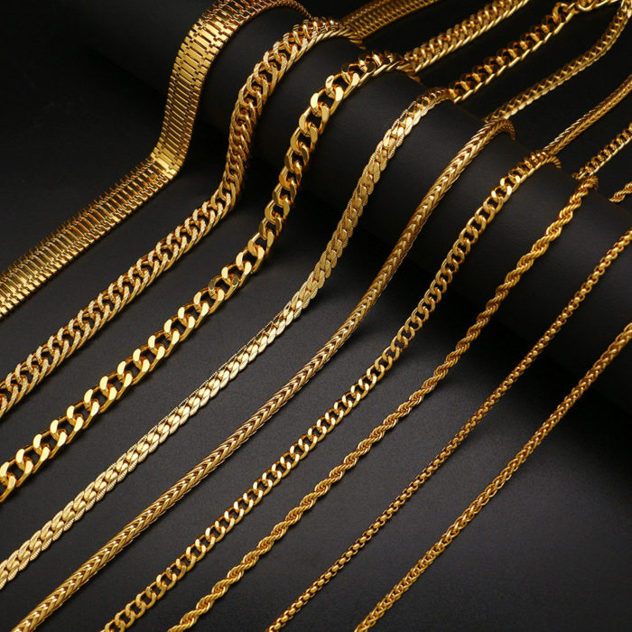 Trendy Metal Chain Necklace Snake Chain Twisted Chain Geometric Hollow Long Necklace