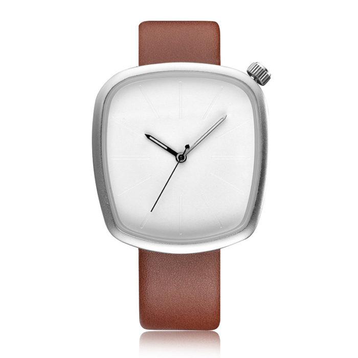 Trendy Quartz Watch Leather Band Geometric Simple Glass Big Square Dial for Women Men