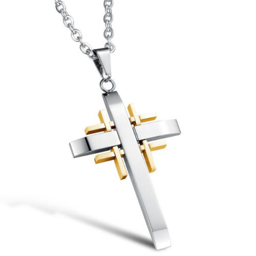 Trendy Silver Gold Men Cross Pandent Stainless Steel Charm NeckLace