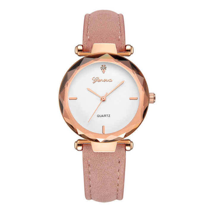 Trendy Womens Quartz Watches Leather Strap Lady Fashion Rose Gold Dial Watches for Women