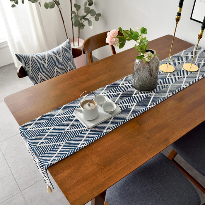 Triangle Pattern Cotton Table Runner Modern Fashion LongStripes Wave Jacquard Dining Tablecloth Tea Mat Home Decoratio