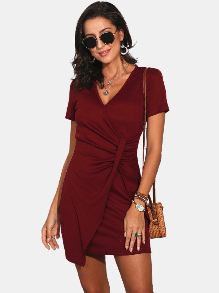 V-neck Short Sleeves Casual Dress For Women