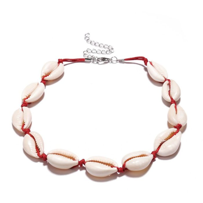 Vintage Beaded Necklace Clavicle Shell Wax Rope Necklace Choker Jewelry Accessories for Women