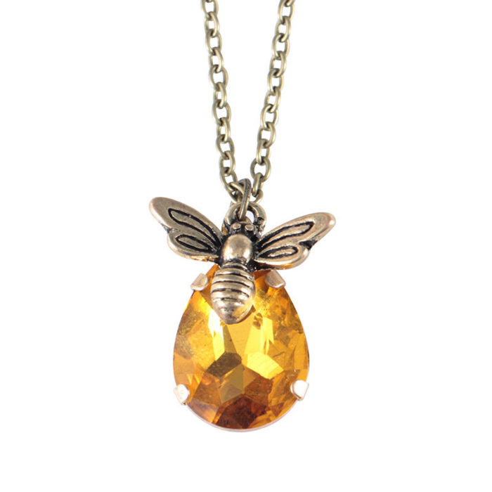 Vintage Crystal Bee Pendant Necklaces Honeybee Gold Necklaces for Women