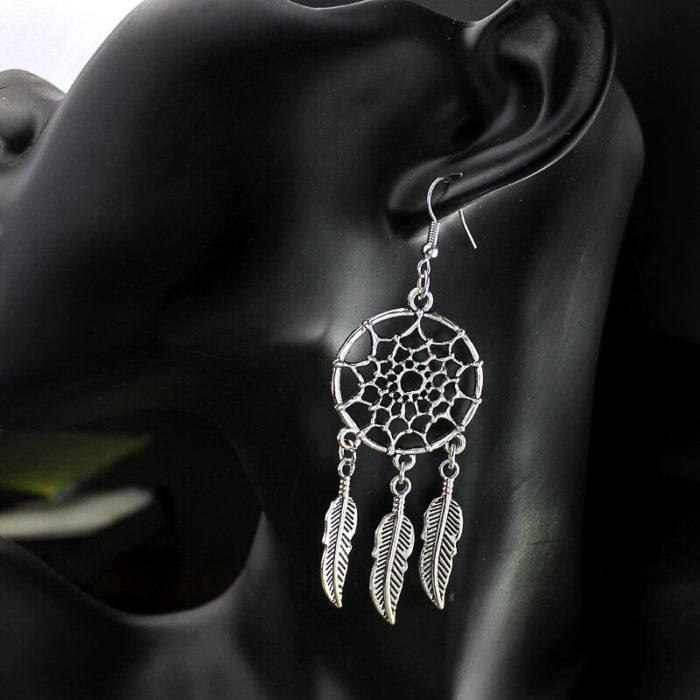 Vintage Ear Drop Earrings Hollow Round Dream Net Leaves Pendant Dangle Ethnic Jewelry for Women