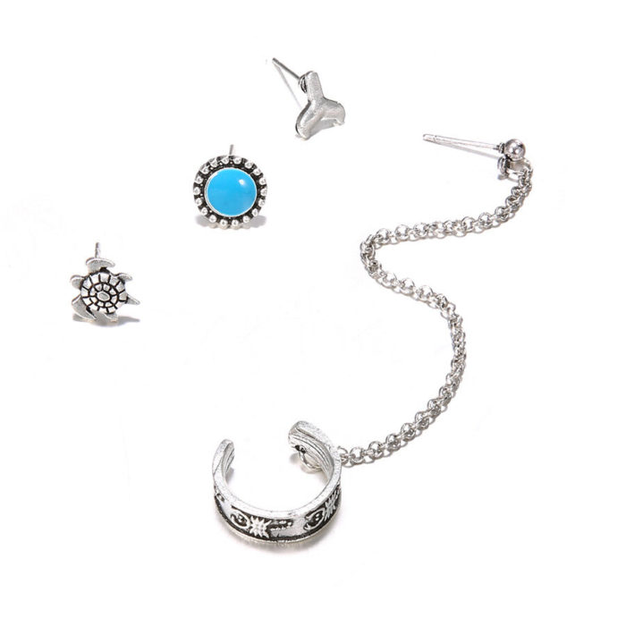 Vintage Ear Stud Earrings Antique Silver Flower Round Chain Earrings Ethnic Jewelry for Women
