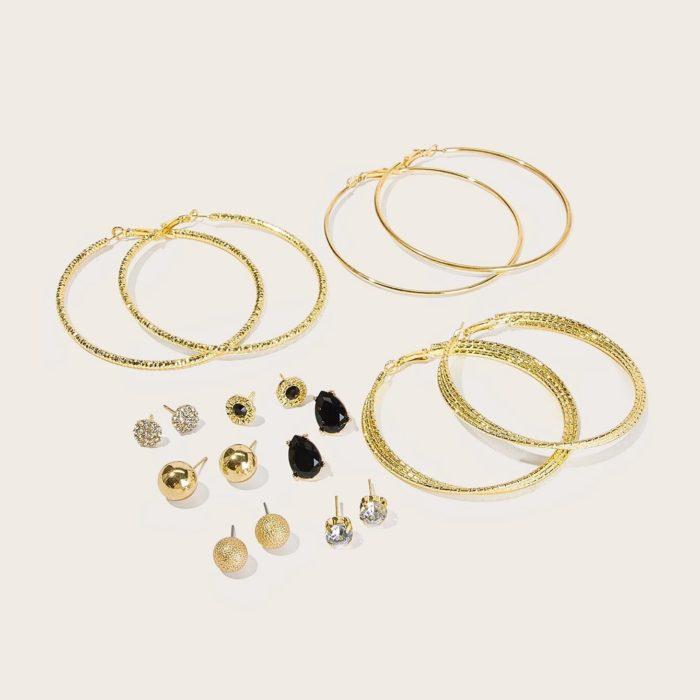 Vintage Ear Stud Set 9 Pair Rhinestone Water Drop Earrings Set Bohemian Jewelry For Women