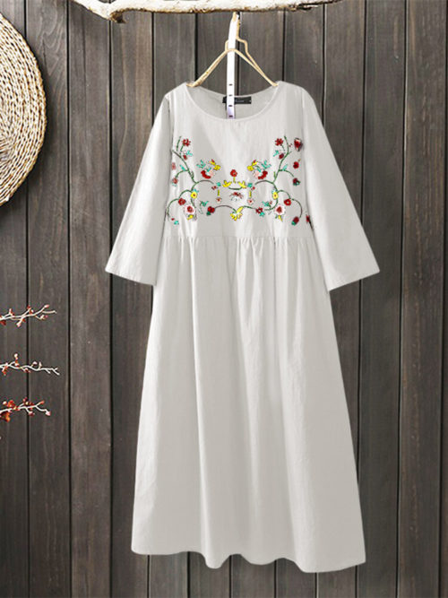 Vintage Embroidery 3/4 Sleeve Plus Size A-line Dress