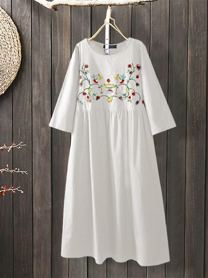 Vintage Embroidery 3/4 Sleeve Plus Size A-line Dress