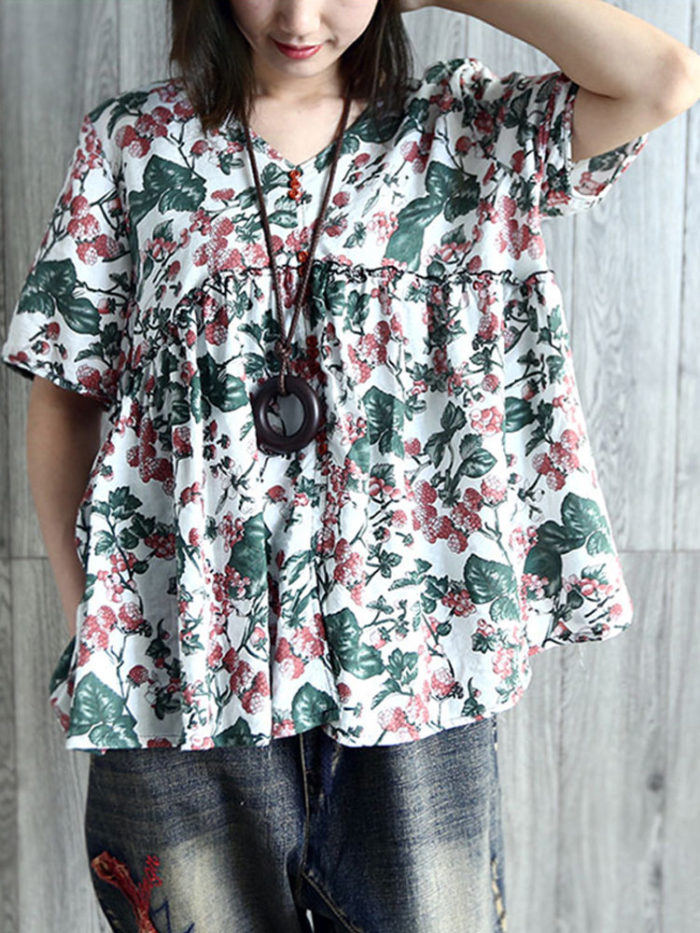 Vintage Floral Short Sleeve V Neck A Line Blouse
