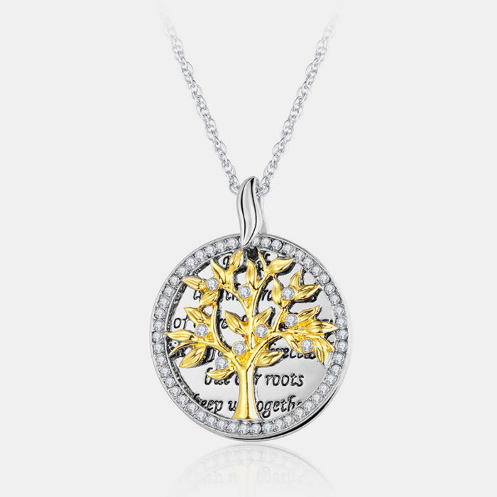 Vintage Geometric Round Pendant Necklace Metal Rhinestones Hollow Life Tree Pendant Necklace