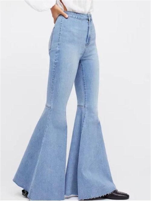 Vintage High Waist Stretchy Flared Denim Trousers