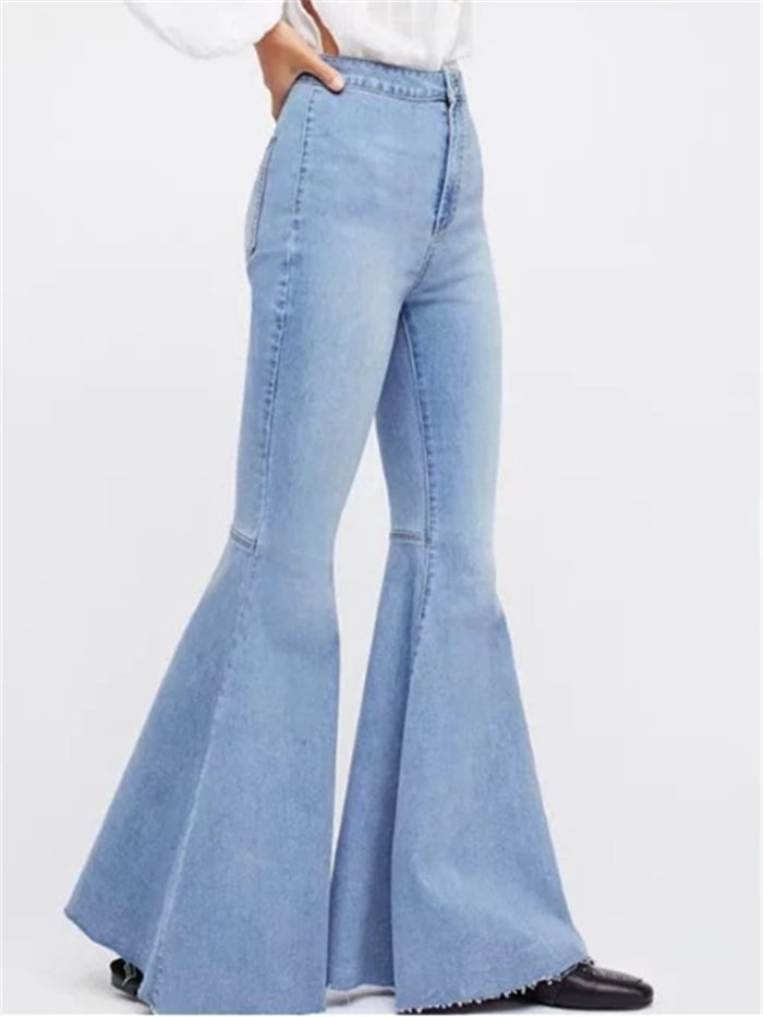 Vintage High Waist Stretchy Flared Denim Trousers