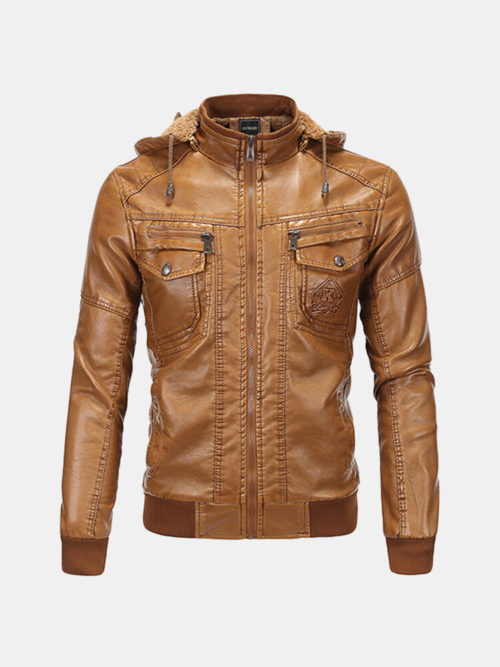 Vintage Moto Leather Jacket Fleece Detachable Hooded Multi Pocket Jacket for Men